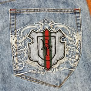 Vintage Bare Fox Embroidered Jeans Mens